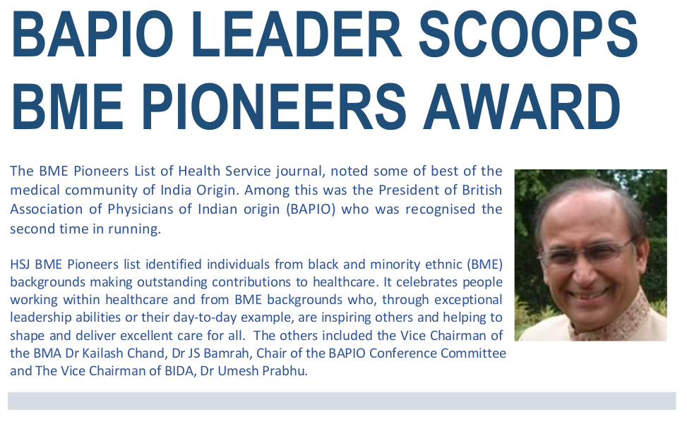 BAPIO Leader Scoops BME Pioneers Award
