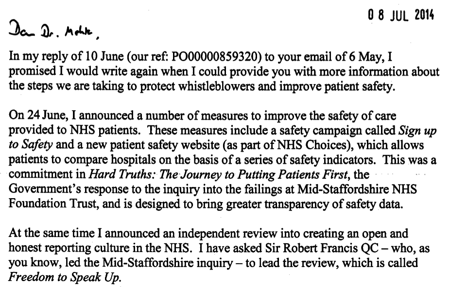 Hon Jeremy Hunt, the Secretary of State for Health responds to BAPIO concerns on whistle blowers plight