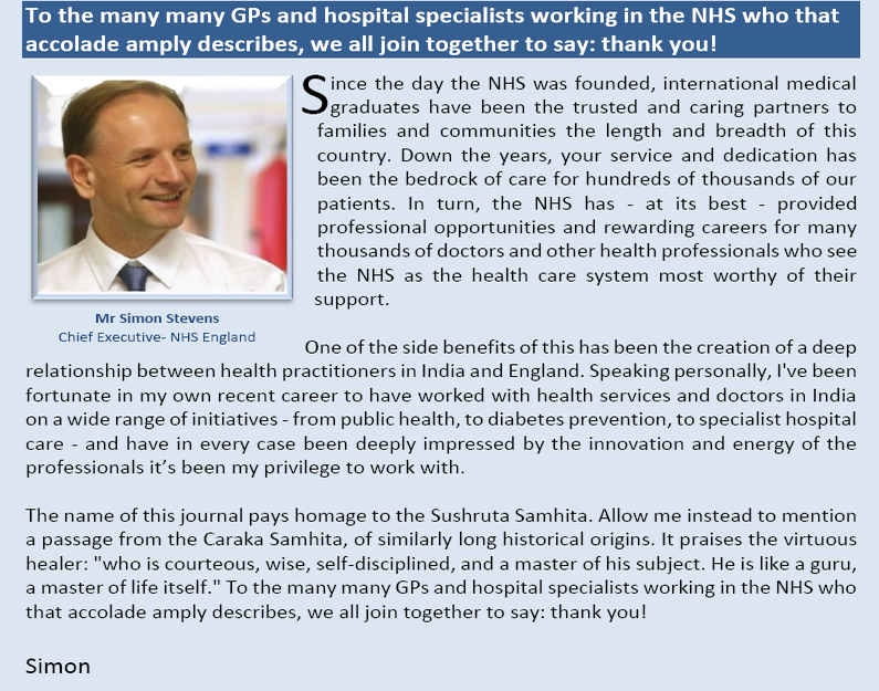 Personal Message to BAPIO from Simon Stevens, Chief Executive, NHS England