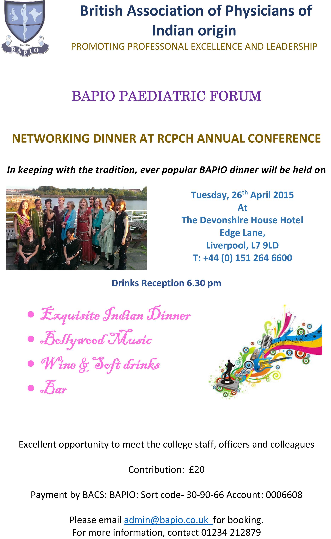 BAPIO Paediatric Forum Dinner Invite