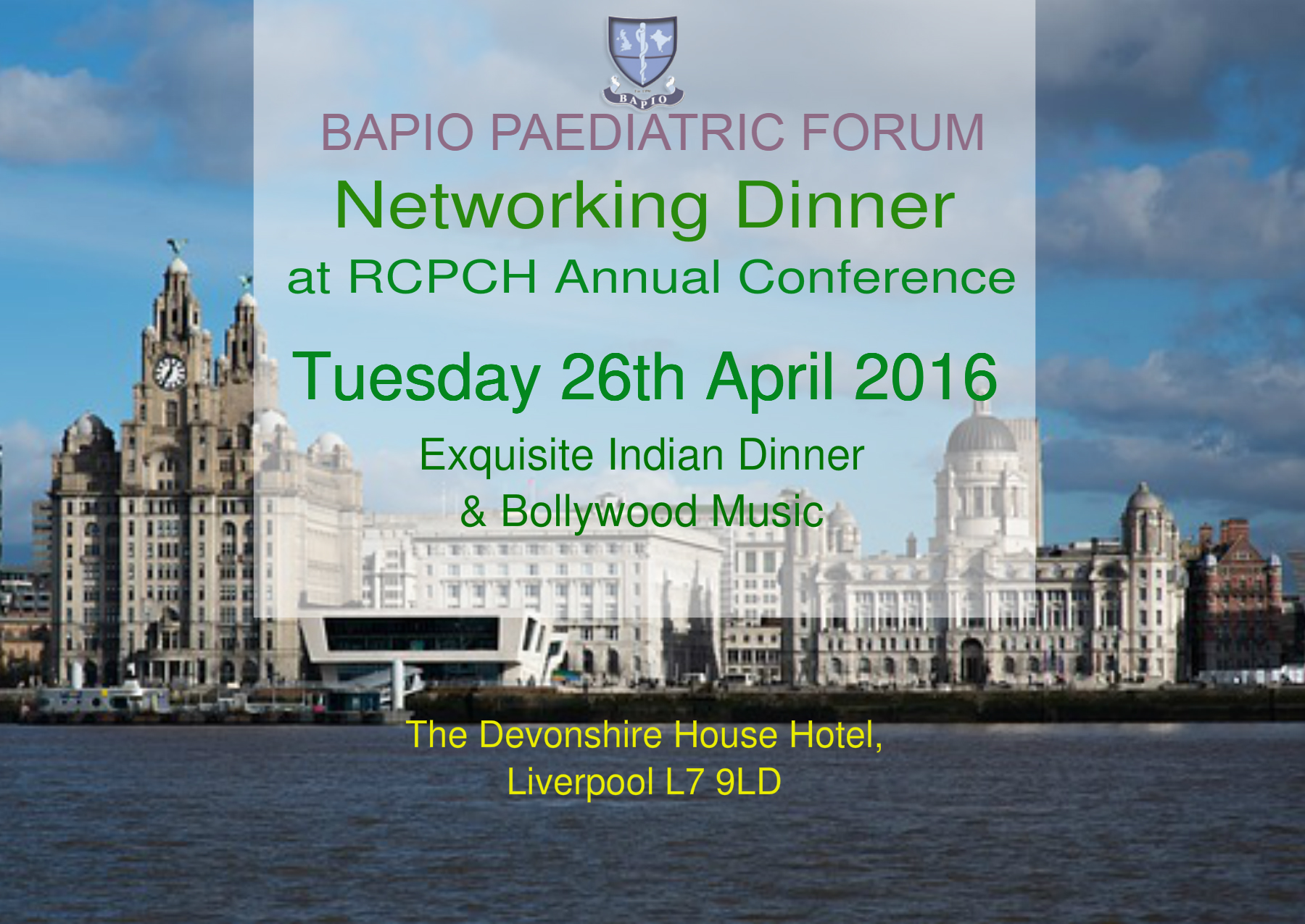 BAPIO Paediatric Forum Networking Gala Dinner Banner