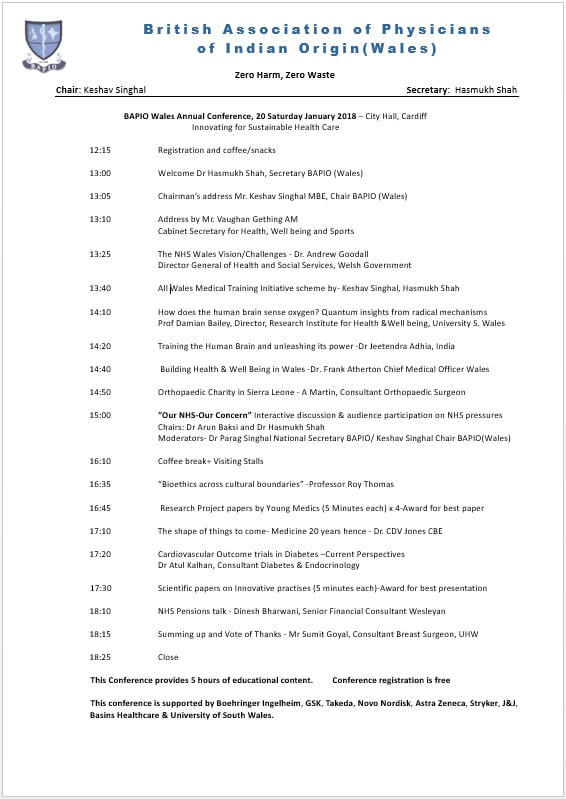 Annual Wales Conference 2018 Programme