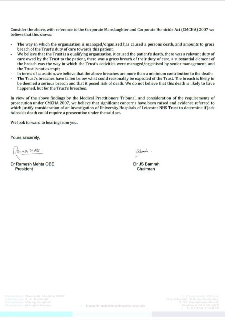 BAPIO letter to Leicestershire Police page 2