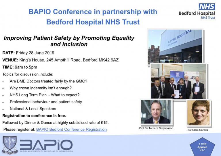Bapio Conference in Partnership with Bedford Hospital NHS Trust- 28th June