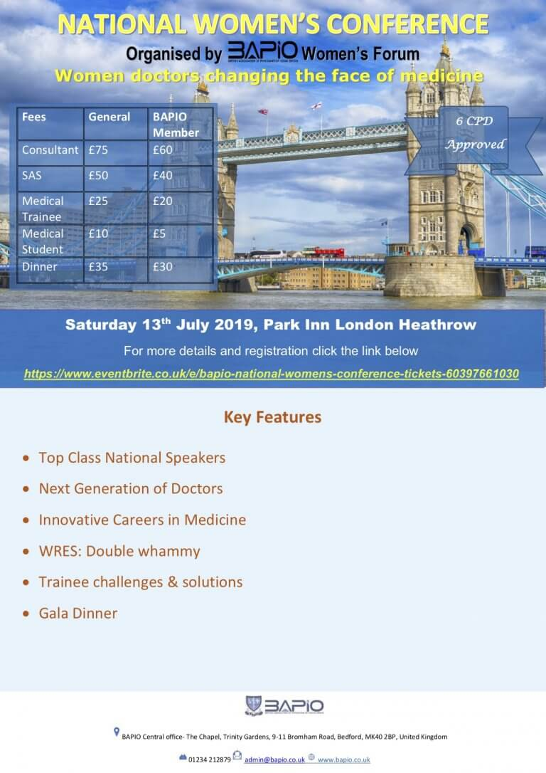 BAPIO Women's conference- 13th July London