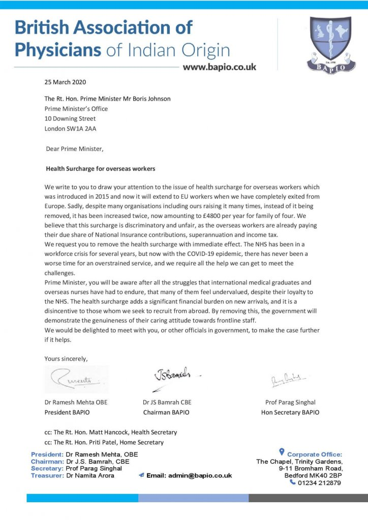 Health surcharge letter